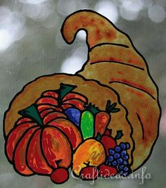 Faux Stain Glass Picture - Thanksgiving