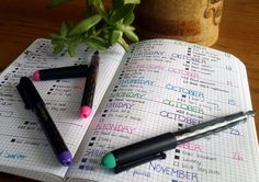 How to Start a Bullet Journal spread with pens | Littlecoffeefox.com