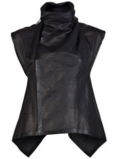 Leather vest in blac from Rick Owens. This lambskin leather vest features an oversized collar, front off-set concealed zipper closure, and asymmetric back tail.                                                                                                                                                                                 More