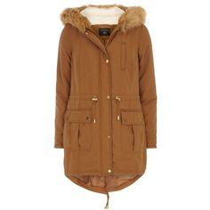Dorothy Perkins Faux Fur Hooded Parka ($79) ❤ liked on Polyvore featuring outerwear, coats, brown, women, brown coat, dorothy perkins coats, dorothy perkins, faux fur hood coat and brown parka