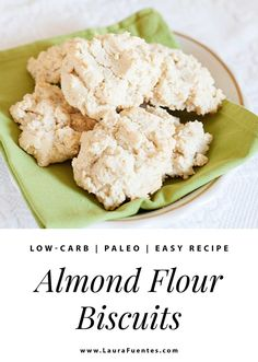 These almond flour biscuits are perfect for breakfast or served with a meal as a grain-free bread roll they are easy to make and delicious! Almond Flour Biscuits, Baking With Almond Flour, Almond Flour Recipes, Dairy Free Biscuits, Paleo Biscuits, Gluten Free Sweets, Gluten Free Baking, Baking Soda Baking Powder, Grain Free Bread