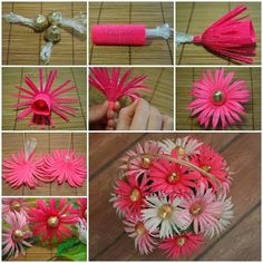 DIY Chocolate Gerbera Flower Bouquet Flowers and chocolates are two common choices for gifts. Then why not combine these two awesome things and make something even more awesome? Here is a great DIY project to make a chocolate gerbera flower bouquet. Candy Flowers, Crepe Paper Flowers, Diy Flowers, Fabric Flowers, Paper Peonies, Bouquet Cadeau, Gift Bouquet, Wedding Bouquet, Candy Bouquet Diy
