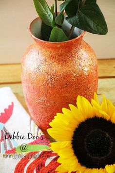 Embossed vase with rit dye and mod podge on glass