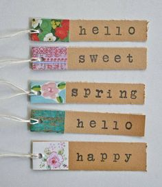 use scraps on these simple tags, then label with tiny alphabet via Michelle Jack. - use scraps on these simple tags, then label with tiny alphabet via Michelle Jackson of Vintage Stre - Card Tags, Gift Tags, Karten Diy, Candy Cards, Pocket Letters, Scrapbook Embellishments, Paper Tags, Scrapbook Pages, Scrapbook Stickers