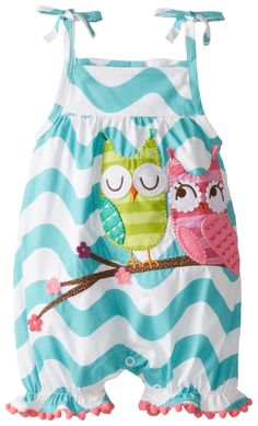 Mud Pie Baby-Girls Infant Owl Bubble, Blue, 12-18 Months