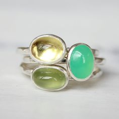Gemstone stacking rings sterling silver by BelindaSaville on Etsy, $150.00