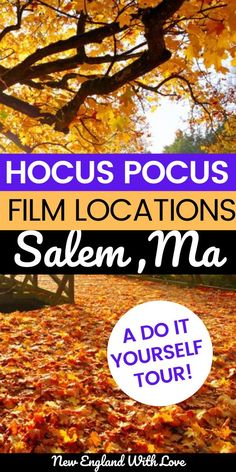 Where was Hocus Pocus filmed? In magical Salem, MA! Find all the Hocus Pocus filming locations in Salem, Massachusetts with our extensive guide (plus a map!) Usa Travel Guide, Travel Usa, Travel Guides, Travel Tips, New England Fall, New England Travel, Fall In Connecticut, Literary Travel, Travel Reviews