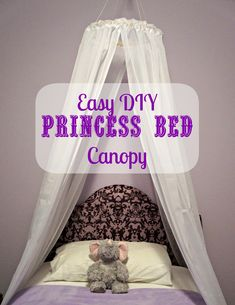 "DIY Easy Princess Bed Canopy I'm thinking about doing this in rainbow colors with a ""cloud"" on the top that has twinkle lights in it"