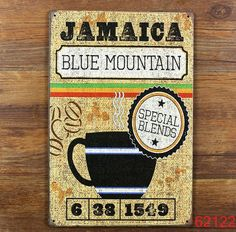 JAMAICA BLUE MOUNTAIN Poster Wall Decor Bar Home Vintage Craft Gift Art 12x8in Iron painting Tin Poster 30X20CM