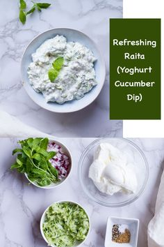 Raita is a cool, creamy condiment that is a must with spicy Indian recipes. Yoghurt and cucumber soothe the palate and stand up to the spicier dishes. The meal will feel more whole when you add this to the party. #indian #recipe #cucumber #cool #yoghurt Healthy Appetizers, Healthy Dinner Recipes, Great Recipes, Breakfast Recipes, Vegan Recipes, Favorite Recipes, I Love Food, Good Food, Cucumber Dip