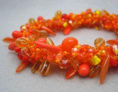 Beaded Bangle Bracelet  Tangerine Orange by randomcreative on Etsy, $43.00