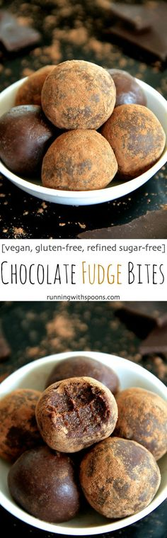 Chocolate Fudge Bites -- Soft, tender and loaded with chocolate flavor, these melt-in-your-mouth bites taste ridiculously decadent while being made with good-for-you ingredients. Gluten-free, vegan and customizable depending on your dietary needs, this is a healthy recipe that everyone will love!