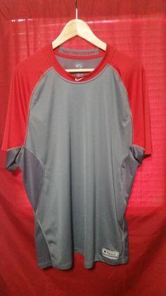 8ec20be8eb Nike Dri Fit MLB Pro Combat Shirt Size 2XL Red Gray Baseball Authentic EUC   Nike