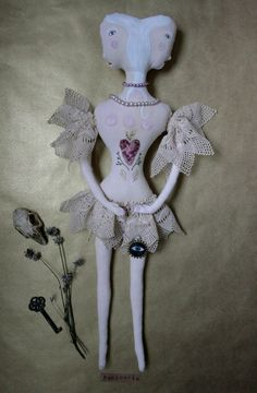 Mad Madelynne textile art doll soft sculpture siamese by pantovola