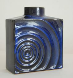 Vintage 1960s Blue Zyklon Fat Lava Vase Cari Zalloni Steuler WGP German Pottery