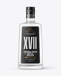 Square Clear Glass Vodka Bottle Mockup