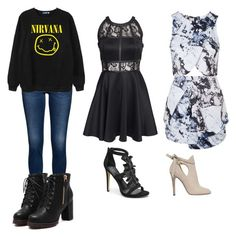 """Sin título #43"" by minakpupi-1 ❤ liked on Polyvore featuring Chicnova Fashion, AX Paris, Bebe, Topshop and Jimmy Choo"