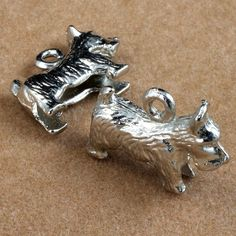 20mm Cast Metal Monopoly Dog Charm 2 Pcs 2793 by GeneralBead (Craft Supplies & Tools, Jewelry & Beading Supplies, Charms, general bead, vintage, charm, game piece, board game, cast metal, silver, monopoly dog, scottie, scottish terrier, 10mm x 20mm, dog, game marker)