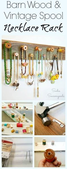 Create a gorgeous, farmhouse style jewelry or necklace rack by repurposing a salvaged barn wood board and upcycling some vintage wooden thread spools! A lovely DIY craft project to organize, store, an Diy Necklace Rack, Diy Jewelry Hanger, Wood Jewelry Display, Jewelry Organizer Wall, Jewelry Organization, Jewelry Holder, Necklace Display, Jewelry Displays, Jewelry Storage