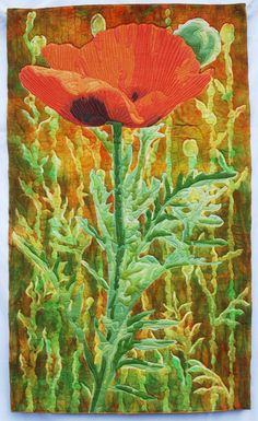 Poppy art quilt by Linda Jean Strand. Four Corners Quilts - 2013 - Flagstaff Arts Council