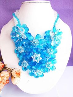 Free ship!!! natural light blue crystal necklace wire braided flower crystal necklace gift US $79.89