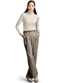 Lafayette148_Outfits_Cozy Flannel Turtleneck and Poised Suiting Harrison Pant