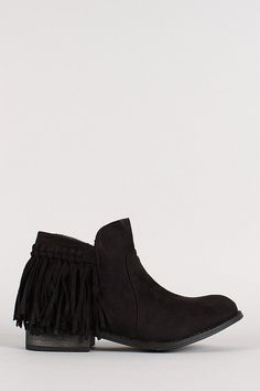 Description Featuring faux suede upper, round toe, fringe accent, side zipper closure, stitching detail, flat heel, and finished with lightly padded insole. Material: Faux Suede (man-made) Sole: Synth