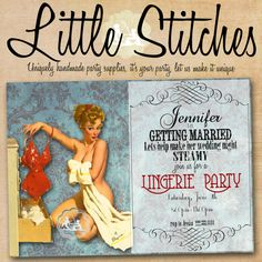 Pin Up Girl Lingerie Party Invitation. $10.00, via Etsy.  Little Stitches