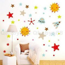 Sun Star Rocket Outerspace wall decal Removable stickers kids nursery baby decor