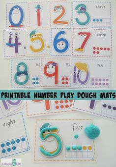 Number Play Dough Mats Printable Number Play Dough Mats with ten frames. By learning 4 kidsPrintable Number Play Dough Mats with ten frames. By learning 4 kids Numbers Preschool, Learning Numbers, Math Numbers, Preschool Learning, Kindergarten Math, Learning Activities, Kids Learning, Kids Numbers, Learning Skills