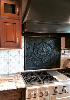 Firebacks for Kitchen Backsplash - Lead Hood Antique French Fireback from Firebacks for Kitchen Backsplash Pictures. Taken from Misc category. Victorian Tiles, Victorian Kitchen, Spice Rack Over Stove, Stove Backsplash, Travertine Backsplash, French Country Kitchens, Colonial Kitchen, French Decor, Kitchen Tiles