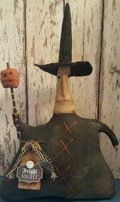 Primitive Little  Halloween Witch Doll w/ Pumpkin  ~*~Shelf Sitter…