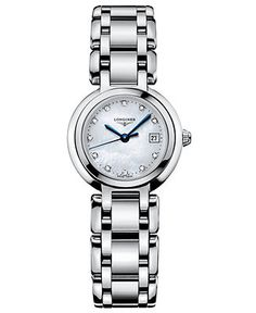 From polished steel to brilliant diamond, shine defines this PrimaLuna collection watch by Longines. Stainless steel bracelet and round case. Mother-of-pearl dial features diamond accents (1/3 ct. t.w