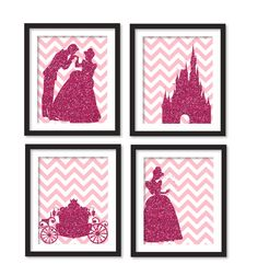 Silhouette of fuchsia glitter Cinderella, carriage, princes and Cinderella and castle, girl room art, gray chevron