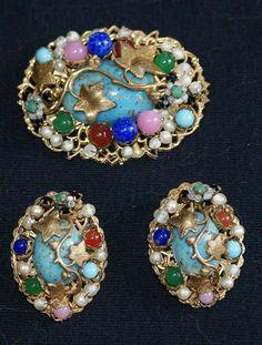 Jonne ( Schrager)  Faux Turquoise Filigree Brooch Pin Earrings