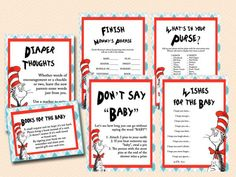 Dr Seuss Baby Shower Games, Cat In The Hat Baby Shower Game Pack Tlc61