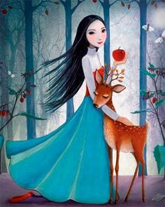 Girl and deer artist Illustration by www.MilaMarquis.com and www.Facebook.com/MilaMarquisillustration