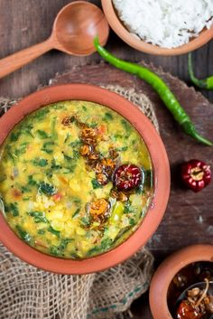 Dhaba style dal palak is dal (lentils) cooked with palak (spinach). Comforting and tasty dal palak it easy to make! Best when paired with rice or roti. Vegan Indian Recipes, North Indian Recipes, Vegetarian Recipes, Healthy Recipes, Ethnic Recipes, Pea Recipes, Soup Recipes, Cooking Recipes, Curry Recipes