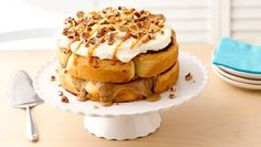For a perfect decadent breakfast or birthday cake, how about a layer cake made with Pillsbury® Grands!® cinnamon or caramel rolls? Use whichever is your favorite. Homemade cream cheese frosting takes it over the top!