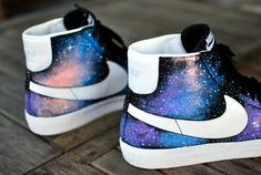 Custom HandPainted Nike Blazer Mid Galaxy Sneakers by BStreetShoes