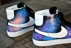 Custom HandPainted Nike Blazer Mid Galaxy Sneakers by BStreetShoes