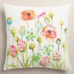 Featuring our whimsical watercolor floral design with bursts of bright color and a charming grasshopper icon, our exclusive throw pillow is a vivid accent with the inviting feel of a 100% cotton cover. >> #WorldMarket Living Room