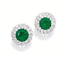 PAIR OF EMERALD AND DIAMOND EARRINGS | Sotheby's