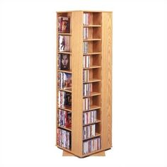 Charlton Home Marshall Multimedia Revolving Tower Color: Oak Movie Storage, Cd Dvd Storage, Craft Storage, Media Storage Tower, Storage Center, Entertainment Furniture, Joss And Main, Home Crafts