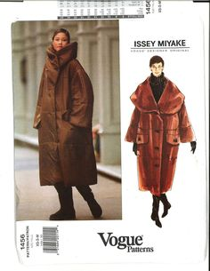 """Vogue 1456 Issey Miyake Uncut SzXS-S-M Coat 1994 MISSES' COAT.Oversized, self-lined coat, lower calf, has convertible collar, collar band, dropped shoulders, flaps, welt pockets & 2pc longer than regular length sleeves. B30.5-36""""/78-92cm new uncut sld 19.99+2.87 2bds 2/1/15"""