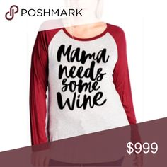 Coming soon! (Plus) Mama needs wine Please like this listing to be notified via price drop when it becomes available for purchase.   Availability: XL•1x•2x•3x • 1•2•2•1  Current listed price is not what this will be listed at. ETA: 12/13 Tops Tees - Long Sleeve