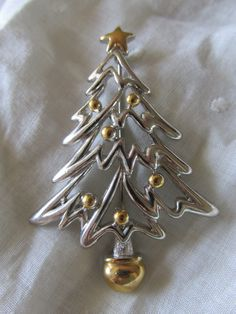 "Vintage CHRISTMAS TREE PIN/Brooch Silver & Gold Enamel Accents Measures 2 1/2"" X 1 3/4"" Ladies Unsigned Collectible Holiday Gift by MedlinAntiques on Etsy"
