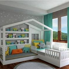 Any child will love this children's custom bed which has a reading desk and a bed to sleep. The quality crafted bed is framed like a house and also has a window at the back! European Home Decor, Unique Home Decor, Toddler House Bed, Kids Bedroom Designs, Bedroom Images, House Beds, Diy Bed, Room Accessories, Kids Room