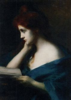 Melancholy (formerly titled, Girl with Auburn Hair) by Jean Jacques Henner (1829-1905).