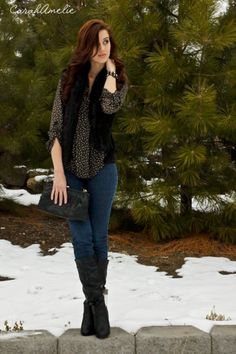 1) Vest: Ross 2) Top: TJ Maxx 3) Jeans: Forever 21 4) Necklace: Forever  21 5) Bag: Thrifted 6) Shoes: TJ Maxx year! If you watched my  winter lookbook you saw my tan one that I bought at nordstroms rack as  well. They are just so cozy.... and you can even throw a pea coat over the  top to keep extra warm!